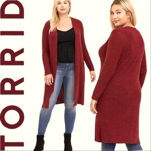 TORRID New Super Soft Biking Red Duster/Cardigan